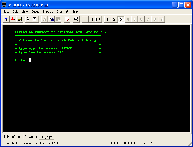 Sample VT100 screen